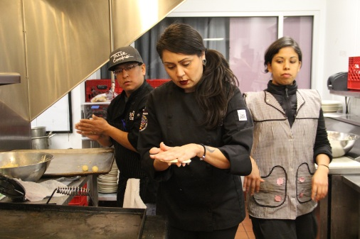 Claudia Serrato making tortillas. Photo by Elizabeth Hoover