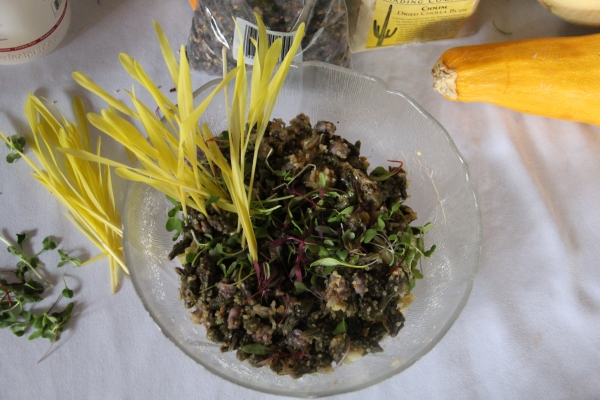 "Loretta's ""Three Sisters and Friends"" Salad, which includes hominy corn, tepary beans, summer squash, wild rice, quinoa, micro greens, cilantro and corn shoots, with a vinagrette dressing. Photo by Elizabeth Hoover"
