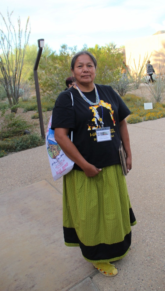 "Twila Cassadore, from the Western Apache Diet Project. Twila has been working with San Carlos Apache, White Mountain Apache, and Yavapi peoples for the past 25 years, conducting interviews with elders to bring information back into the community to address health and social problems. Twila described the importance of foods like grass seeds and acorn seeds to the diets of Apaches before people were moved onto reservations and became reliant on rations, and later, commodities. She highlighted, ""it took a community to do this. Not individual, not going to the grocery store and buying a bag of flour. You had to wait for the season for mother earth to offer to you."" (Photo by Elizabeth Hoover)"